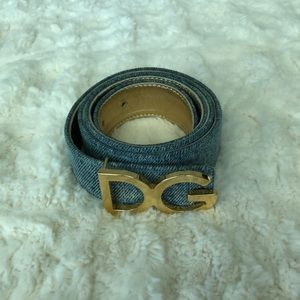 Dolce & Gabbana Blue/Gold Denim and Leather Belt
